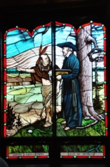 Jean de Brebeuf Stained glass at Ste. Marie Among the Hurons Shrine, Midland Ontario